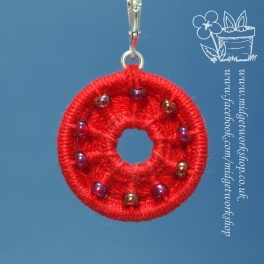 Red Beaded and Holey Dorset Button Stitch Marker