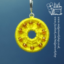 Yellow Beaded and Holey Dorset Button Stitch Marker