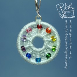 Beaded and Holey Rainbow Dorset Button Stitch Marker