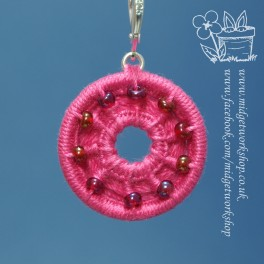 Pink Beaded and Holey Dorset Button Stitch Markers