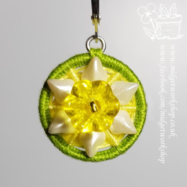 Daffodil Dorset Button Earrings and Pendant