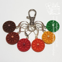 Steampunk Daisy Autumnal Dorset Button Stitch Marker Set